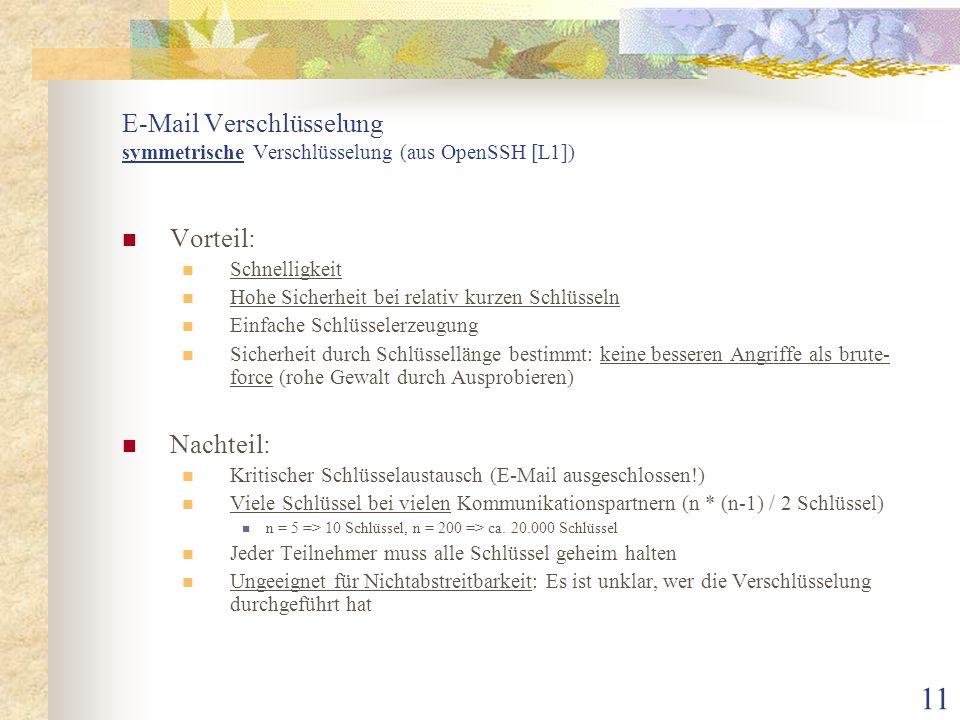 E-Mail Verschlüsselung symmetrische Verschlüsselung (aus OpenSSH [L1])